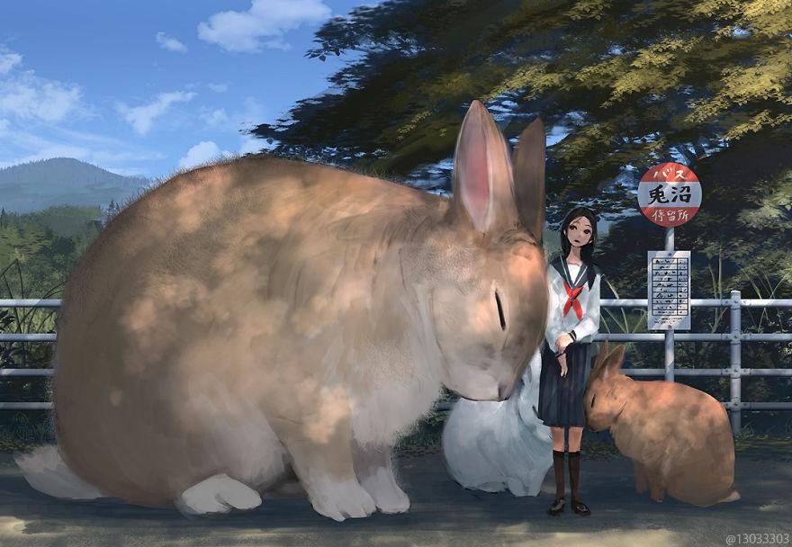 Họa sĩ Nhật Bản vẽ ra một thế giới nơi con người vui sống giữa những con thú khổng lồ - Ảnh 14.