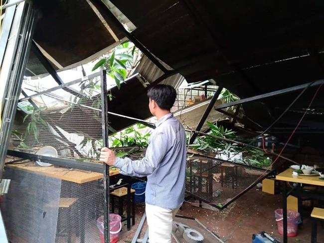 Hà Nội: Cây cổ thụ bất ngờ đổ sập xuống quán ăn, người dân hoảng loạn núp dưới gầm bàn cầu cứu - Ảnh 1.