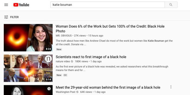 YouTube lại gây phẫn nộ vì tiếp tay cho những kẻ chỉ trích cô gái chụp ảnh hố đen Katie Bouman - Ảnh 1.