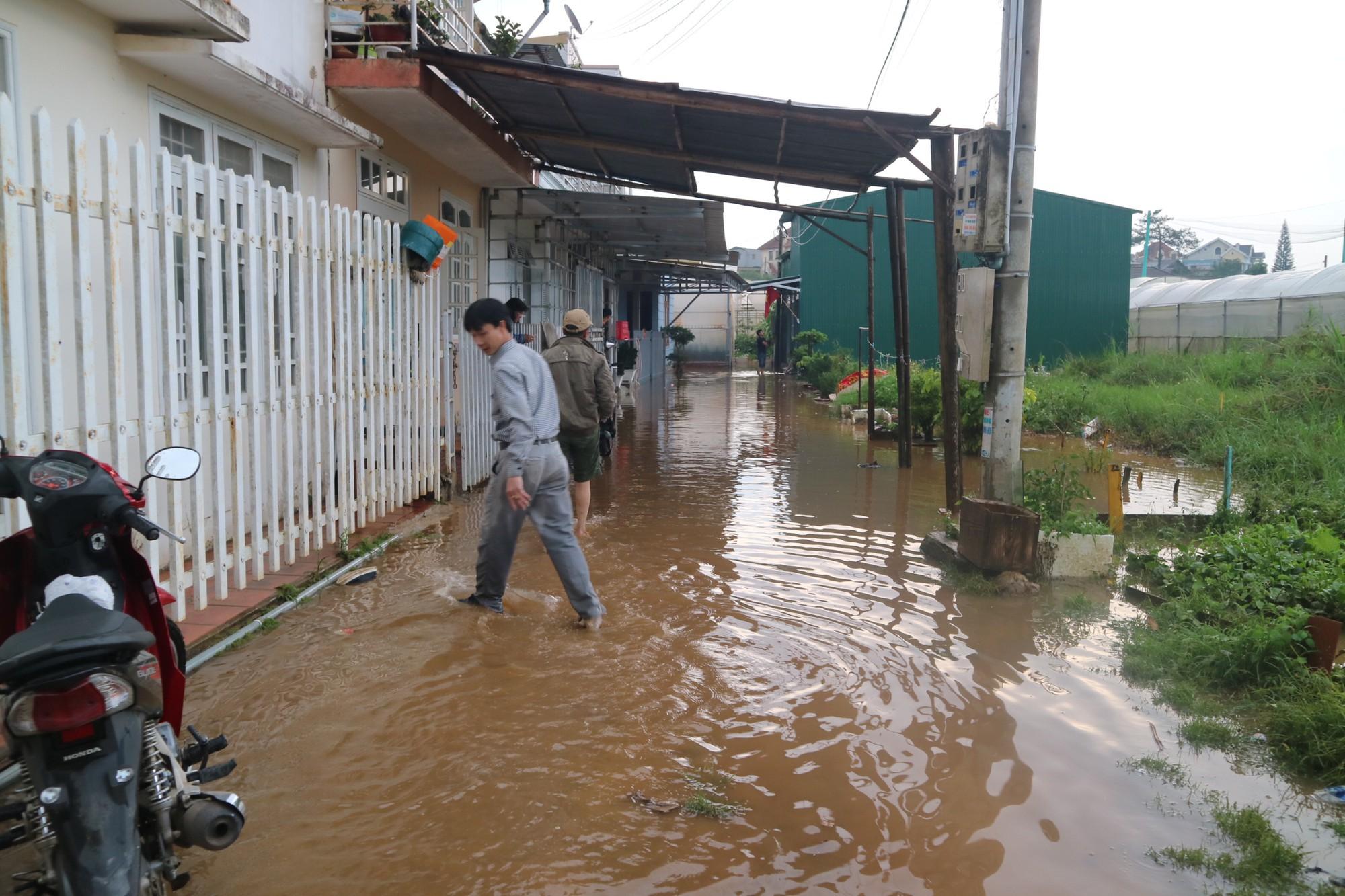 Đà Lạt mưa lớn kéo dài, nhiều nơi ngập nặng, người dân cuống cuồng lội nước - Ảnh 6.