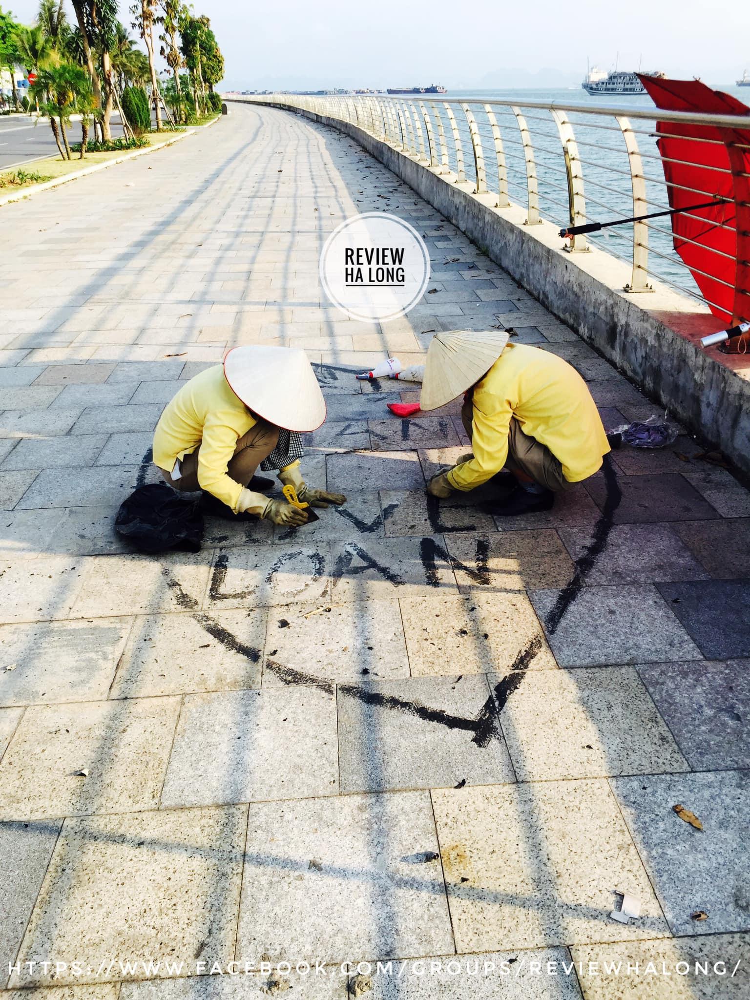 Vẽ bậy để thể hiện tình yêu trên mặt đường, cặp đôi làm tội các cô lao công cặm cụi tẩy xóa dưới cái nắng 40 độ - Ảnh 2.