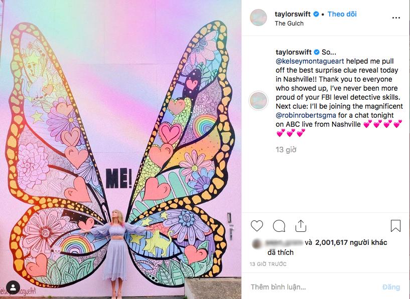 Không chỉ ra MV mới, Taylor Swift còn tặng fan hẳn một bức tường hoạ bướm khổng lồ cực đẹp để tha hồ check-in - Ảnh 6.