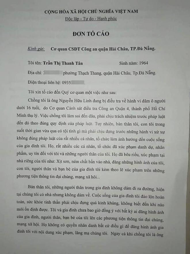 Vợ ông Nguyễn Hữu Linh rút đơn tố cáo những người làm nhục gia đình, đề nghị CA đảm bảo trật tự tại nhà riêng - Ảnh 2.