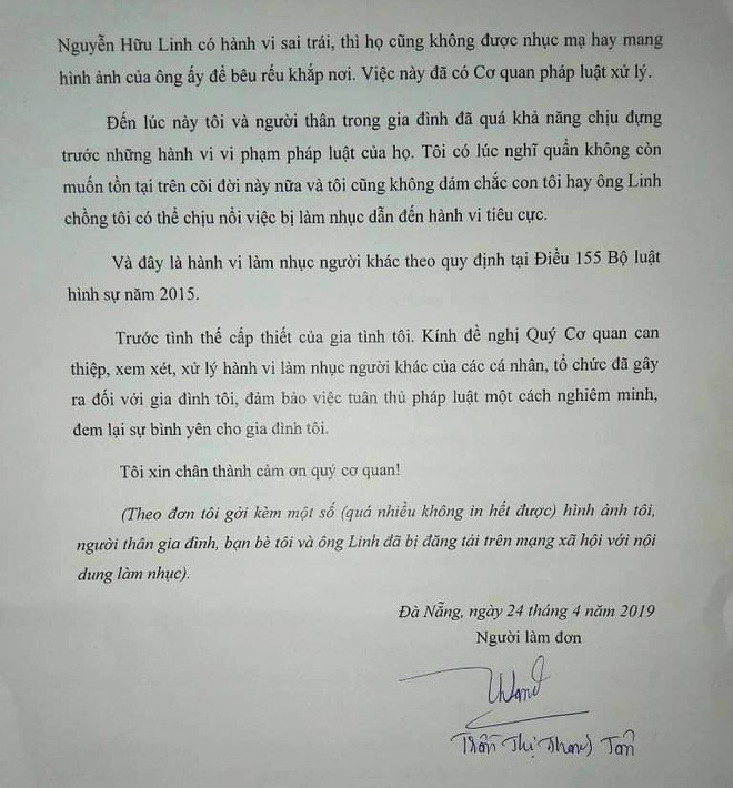 Vợ ông Nguyễn Hữu Linh rút đơn tố cáo những người làm nhục gia đình, đề nghị CA đảm bảo trật tự tại nhà riêng - Ảnh 3.