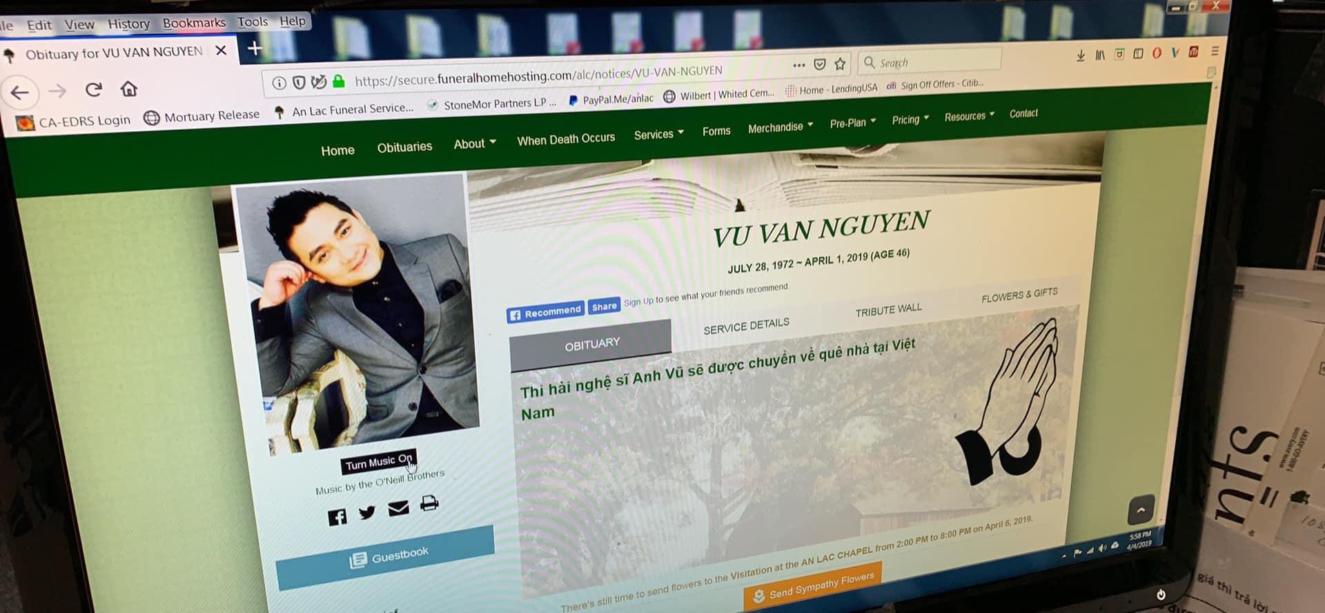 Thời gian tổ chức tang lễ tại Mỹ và đưa về Việt Nam an nghỉ của diễn viên Anh Vũ đã được thông báo - Ảnh 2.