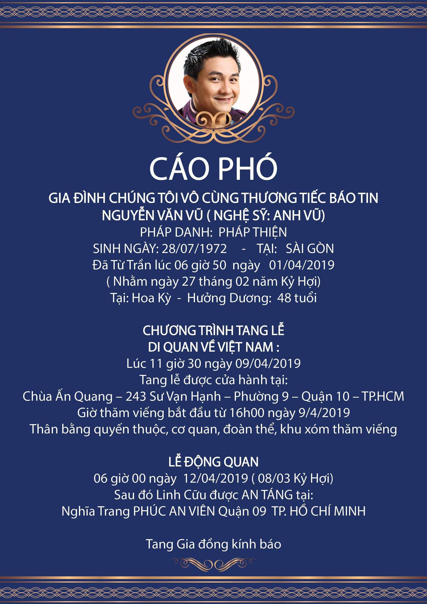 NSND Hồng Vân thay mặt gia đình Anh Vũ thông báo thời gian cử hành tang lễ tại Việt Nam - Ảnh 1.