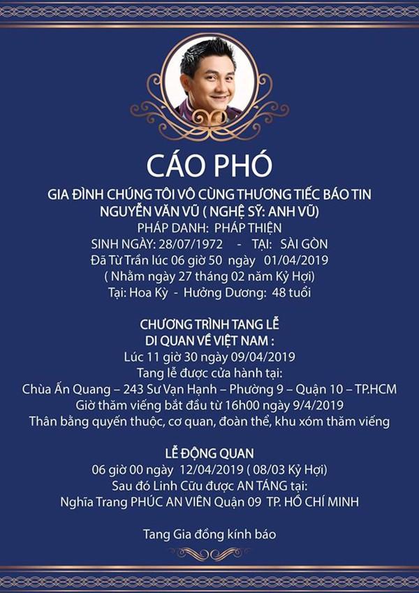 Thi hài cố nghệ sĩ Anh Vũ đang được di chuyển về Việt Nam, sắp được gặp người thân và an nghỉ trên đất mẹ - Ảnh 3.