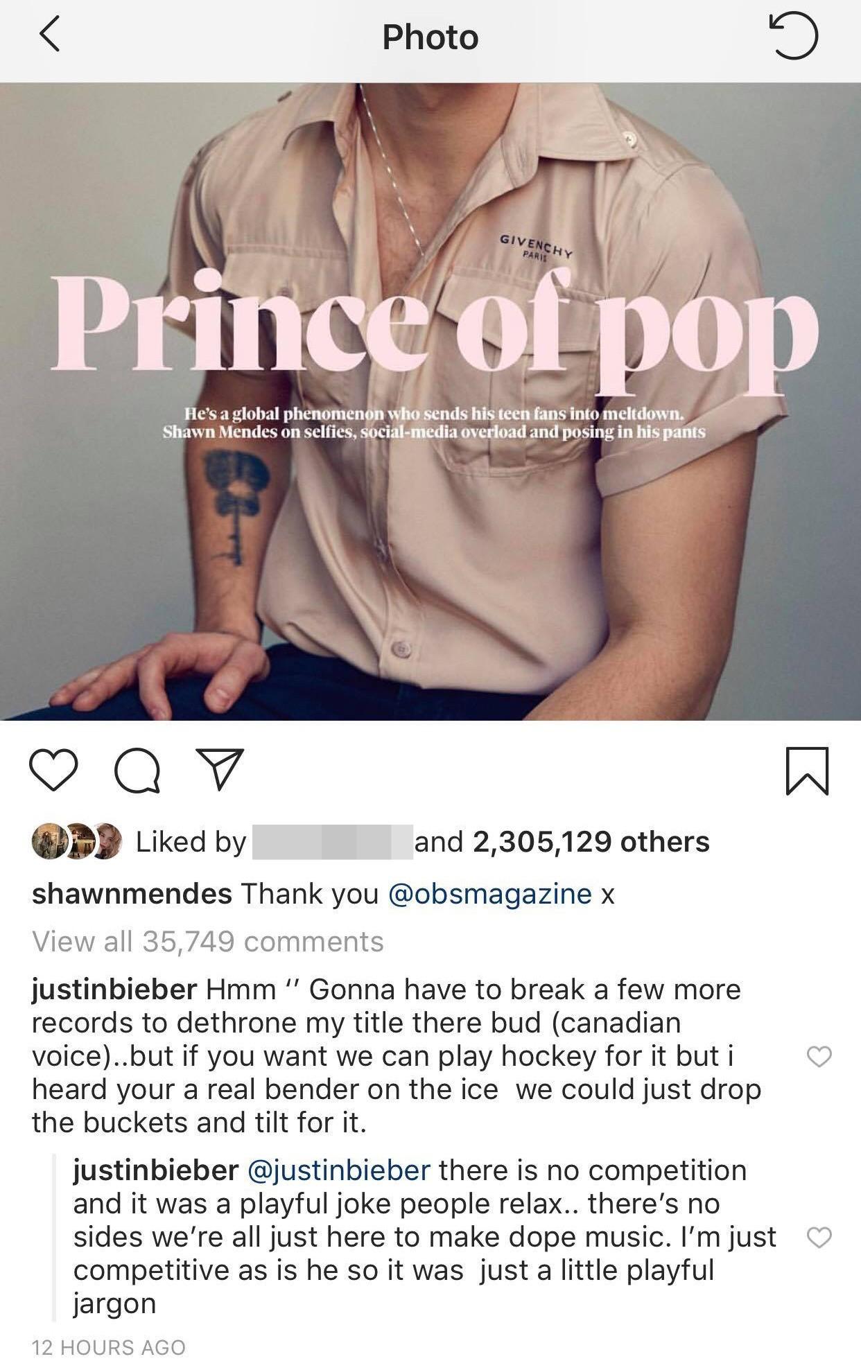 """""""Tình cũ của Hailey"""" Shawn Mendes vừa mới đăng ảnh nhận làm """"Hoàng tử nhạc Pop"""", Justin Bieber lập tức vào bình luận sân si ngay được - Ảnh 2."""
