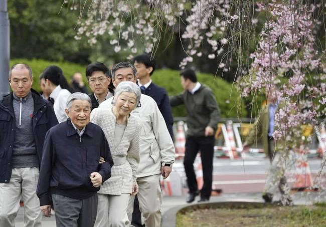 Vua và hoàng hậu Nhật Bản gây bất ngờ khi tản bộ bên ngoài cung điện ngắm hoa anh đào nở nhưng cách ông thể hiện tình cảm với bạn đời 60 năm mới khiến người ta ngưỡng mộ - Ảnh 2.