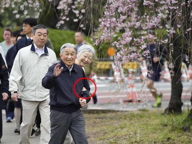 Vua và hoàng hậu Nhật Bản gây bất ngờ khi tản bộ bên ngoài cung điện ngắm hoa anh đào nở nhưng cách ông thể hiện tình cảm với bạn đời 60 năm mới khiến người ta ngưỡng mộ - Ảnh 1.