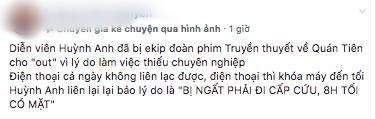 Rộ tin Huỳnh Anh tự ý bỏ quay, mất liên lạc cả ngày vì bị ngất phải đi cấp cứu - Ảnh 1.