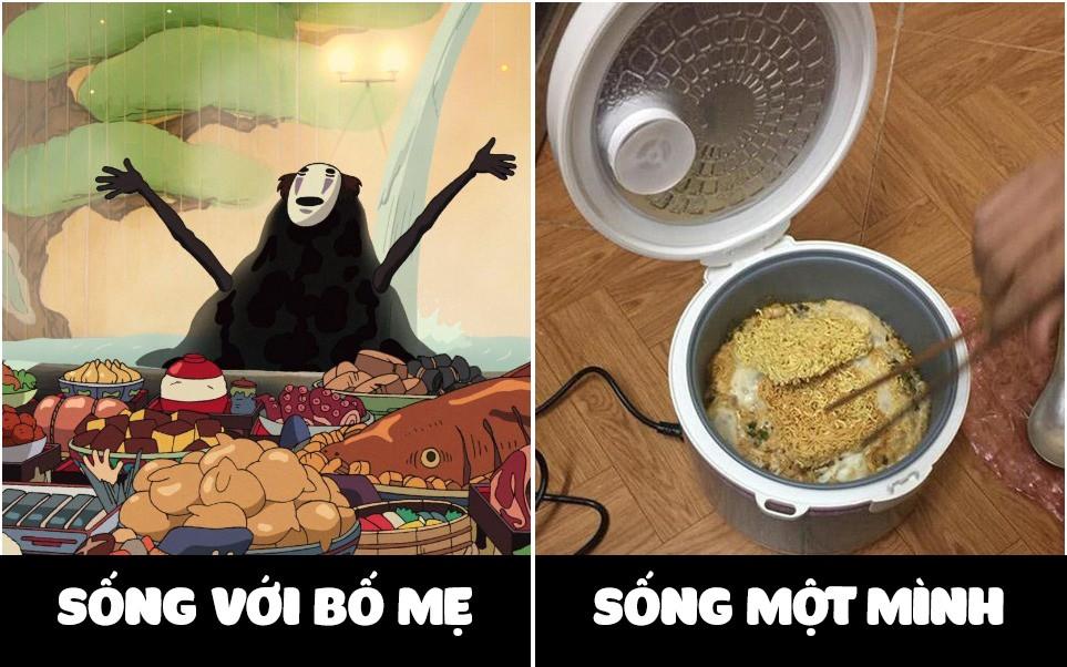 Hình ảnh so sánh bữa ăn khi ở nhà và lúc lên trường: Đúng là chỉ có bố mẹ thương chúng ta nhất! - Ảnh 1.