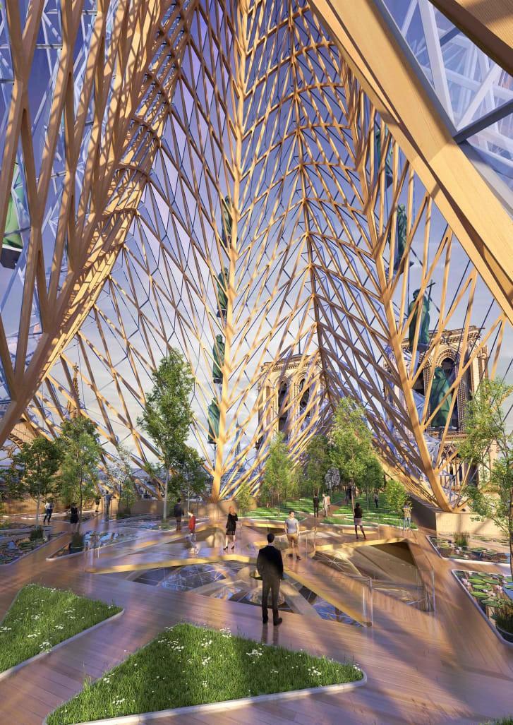 """Một nhà thiết kế mạnh dạn đề xuất biến Nhà thờ Đức Bà Paris thành """"Khu vườn trên mây"""", phần mái có thể trồng tới 21 tấn rau củ - Ảnh 5."""