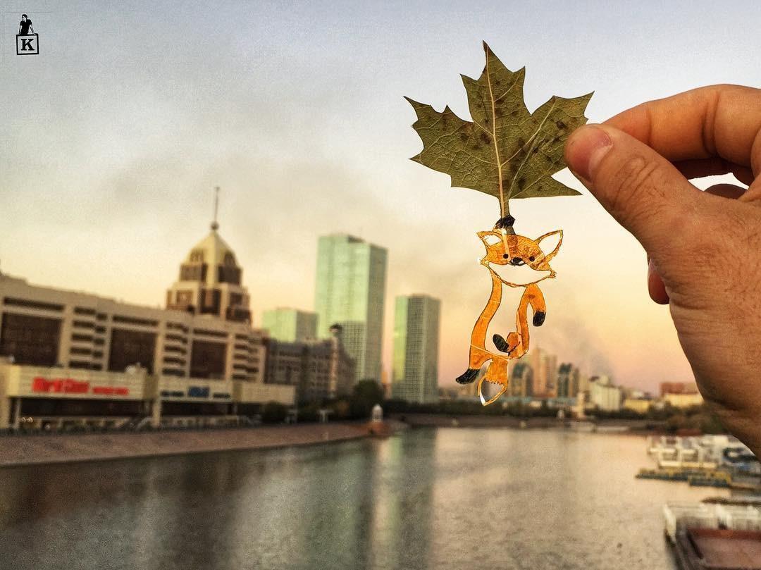 Lá rụng thường bị tống vào thùng rác, lá rụng ở Kazakhstan lại biến thành cả bầu trời nghệ thuật Photo-3-15577666102301910815076