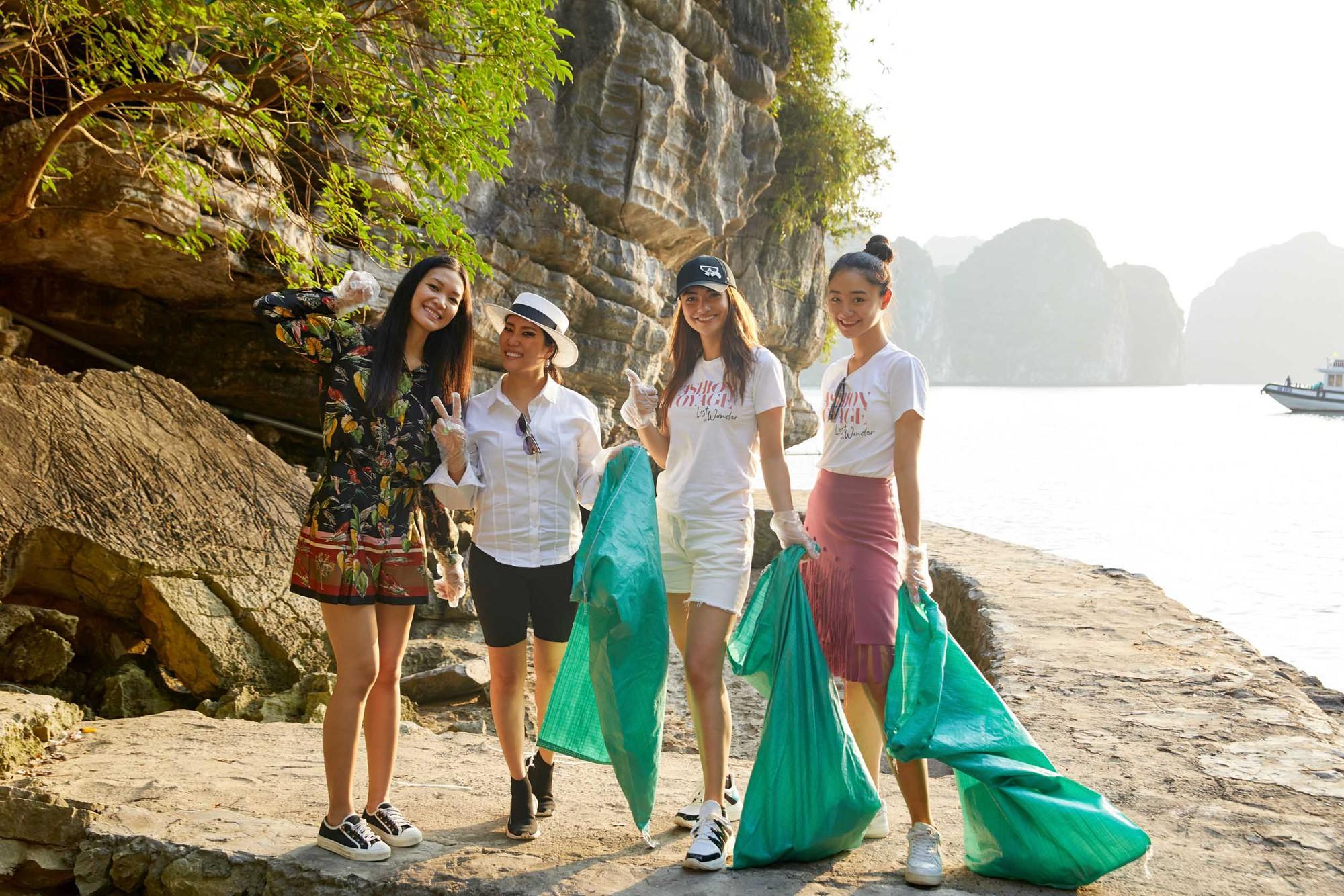 Minh Tú, Hoàng Thùy và dàn mỹ nhân Vbiz chung tay thu gom rác trên đảo hoang ở Vịnh Hạ Long - Ảnh 6.