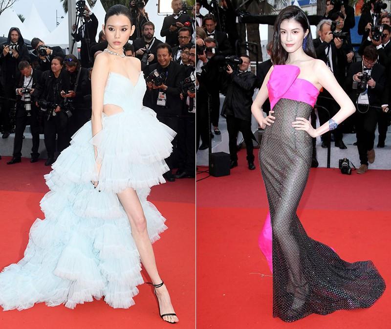 2 thái cực của 2 chân dài Victorias Secret Trung Quốc tại Cannes: Ming Xi như công chúa, Sui He phô phang đến bức người - Ảnh 1.
