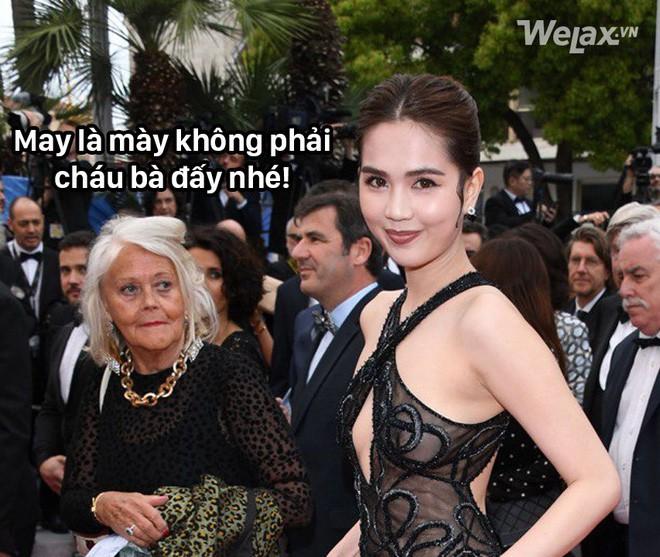 Ngọc Trinh và bộ cánh nhân trần đánh sập LHP Cannes, biểu cảm của bô lão xung quanh được dân mạng tặng ngay 1 vạn 8 ngàn ảnh chế! - Ảnh 6.