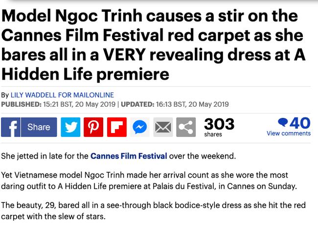 Báo Anh soi cận cảnh màn xuất hiện của Ngọc Trinh trên thảm đỏ Cannes, sốc hơn khi đọc bình luận từ dân mạng quốc tế - Ảnh 1.