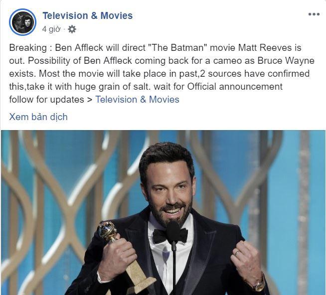 Rộ tin đồn Ben Affleck sẽ đạo diễn phim BATMAN thay Matt Reeves - Ảnh 1.