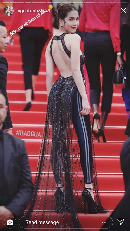 Ngọc Trinh lầy hội tự đăng loạt ảnh dân mạng quây váy, đội nón bảo hiểm che chắn kỹ càng cho mình trên thảm đỏ Cannes - Ảnh 2.