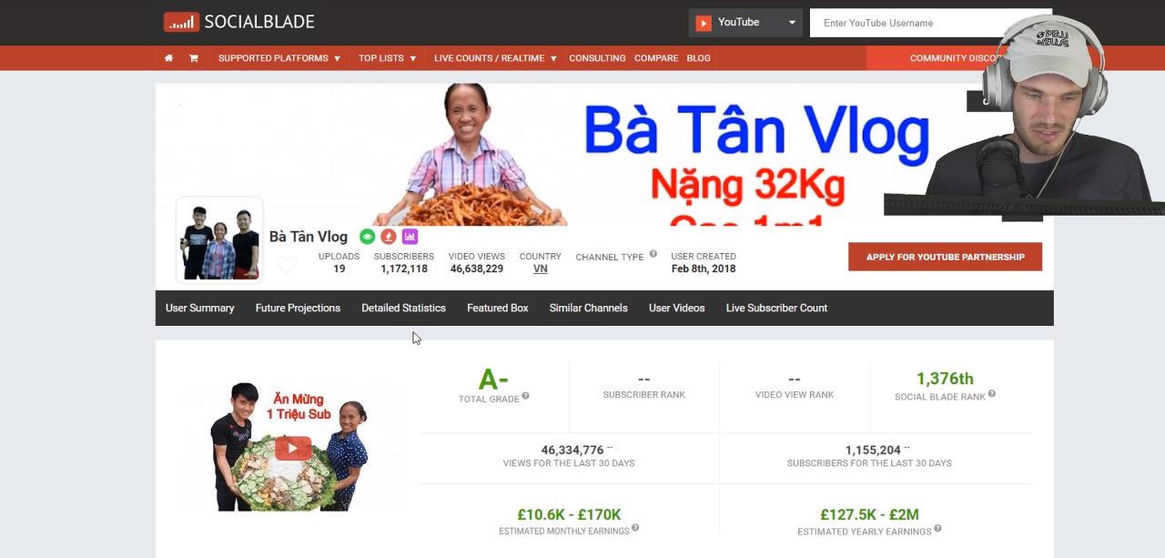 Bà Tân Vlog lên cả livestream của ông hoàng YouTube PewDiePie, gây kinh ngạc với triệu sub sau 2 tuần - Ảnh 1.