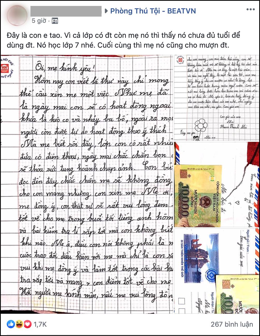 Muốn mượn điện thoại của mẹ đi dã ngoại, cô con gái lớp 7 viết bức thư tay cực dễ thương: Con sẽ rất vui lòng được hôn lên trán mẹ... - Ảnh 1.