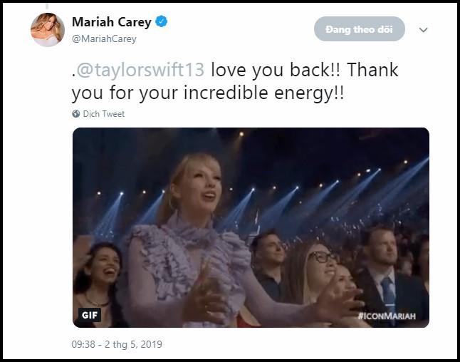 Nhìn xem Mariah Carey phản ứng thế nào trước hành động fangirl đáng yêu của Taylor Swift này!