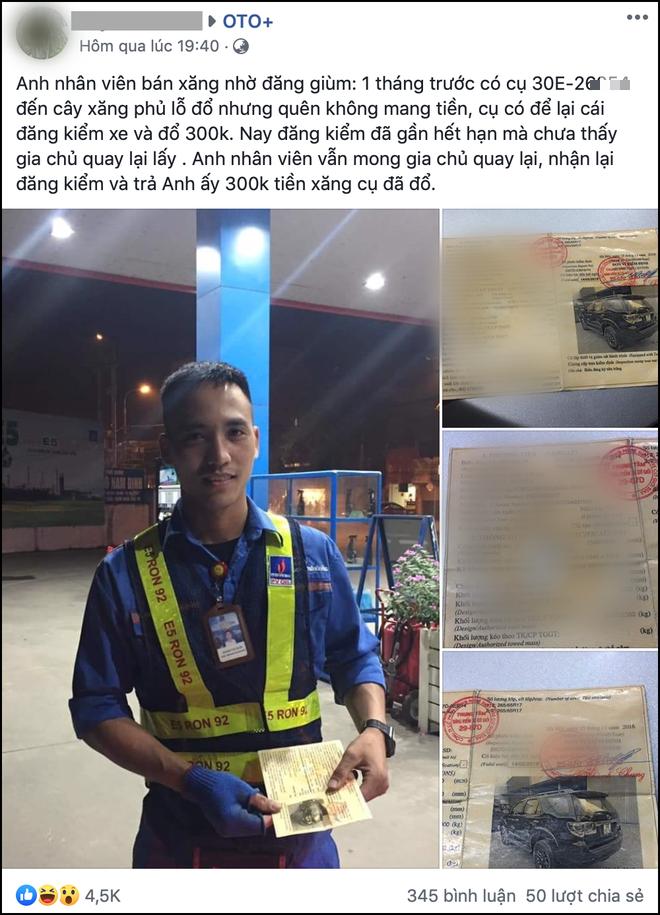 Anh nhân viên nhờ cộng đồng mạng tìm giúp tài xế nợ mình 300k tiền xăng nhưng chỉ để lại tờ giấy đăng kiểm sắp hết hạn - Ảnh 1.