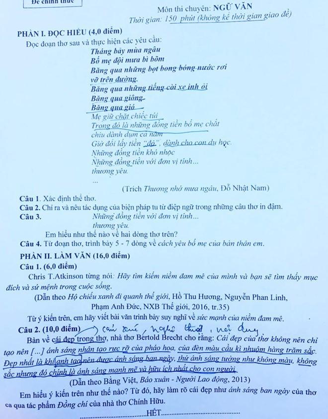 Đề thi chuyên Văn lớp 10 ở Nghệ An gây bất ngờ khi yêu cầu học sinh phân tích thơ của thần đồng Đỗ Nhật Nam - Ảnh 1.