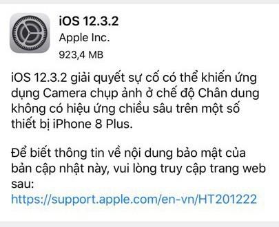 Apple vừa tung ra iOS 12.3.2, người dùng iPhone 8 Plus cần đặc biệt lưu ý - Ảnh 1.