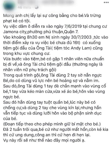 Công an điều tra vụ thiếu nữ 15 tuổi tố bị ông chủ tiệm salon tóc ở Sài Gòn xâm hại tình dục khi gội đầu - Ảnh 1.