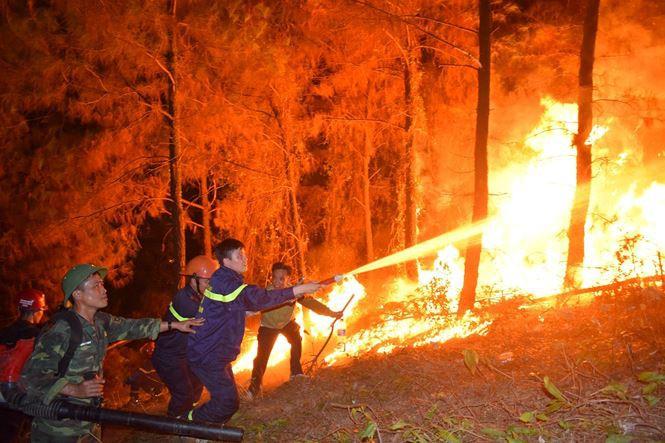 Xúc động hình ảnh lính cứu hỏa nhem nhuốc ngồi ăn tại chỗ, nằm ngủ vạ vật canh cháy rừng xuyên đêm - Ảnh 1.