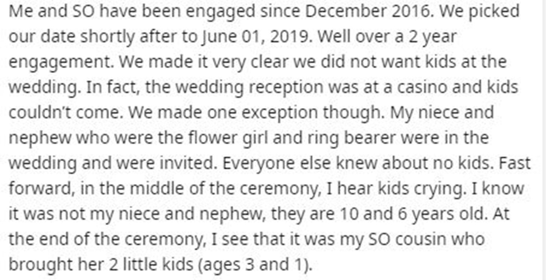 Cô dâu bóc phốt khách mời vì mang trẻ con đến phá hủy bữa tiệc trong khi đã có quy định rõ ràng, dân mạng chia thành hai phe lên tiếng - Ảnh 1.