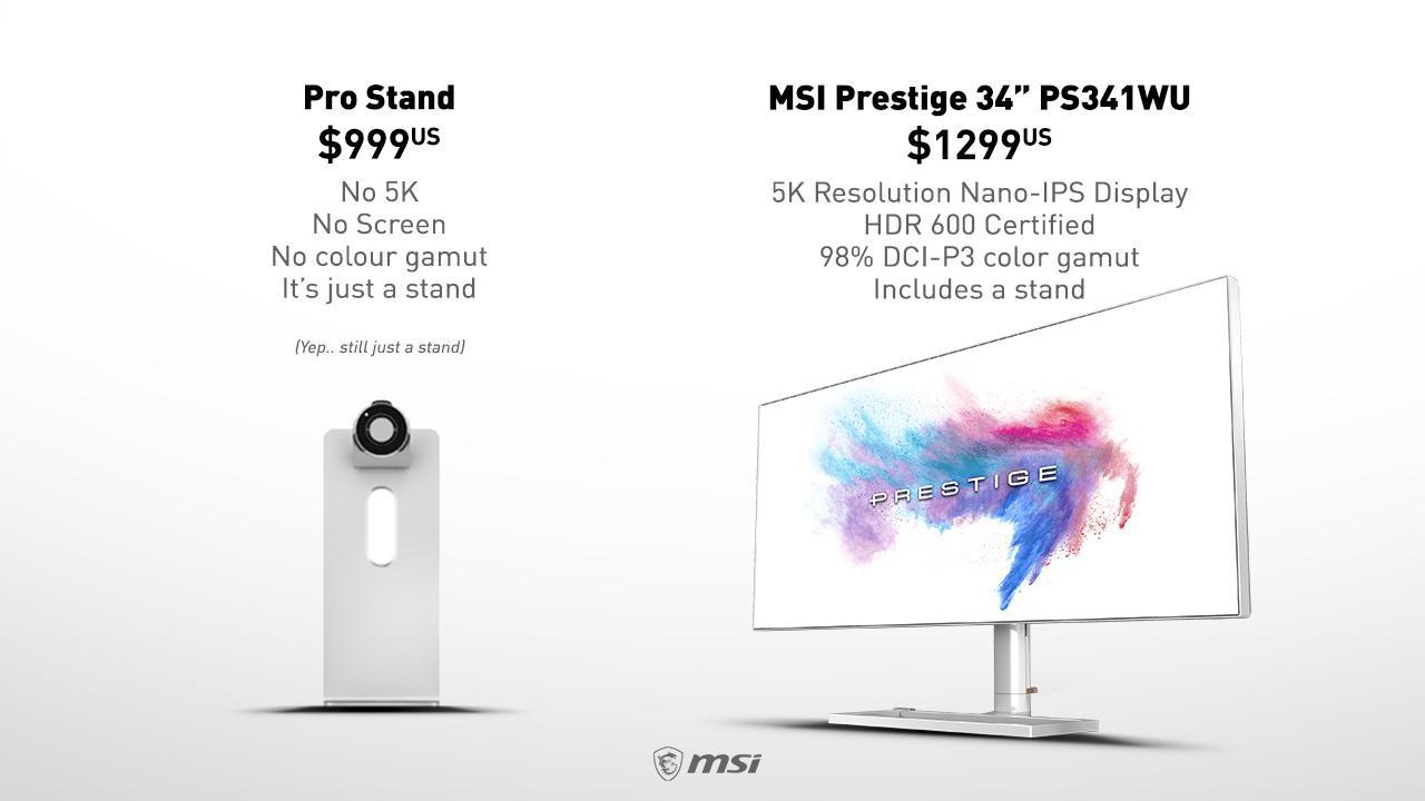 MSI đá đểu chân đế nghìn đô của Apple để quảng cáo cho màn hình 5K của mình - Ảnh 1.