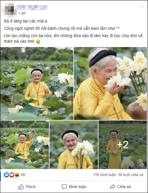 Thần thái tự nhiên cùng biểu cảm dễ thương của cụ bà 90 tuổi bên hồ sen khiến ai cũng trầm trồ - Ảnh 1.