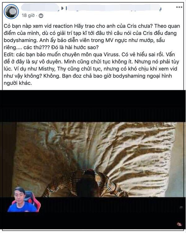 Cris Phan gây tranh cãi khi làm reaction MV của Sơn Tùng M-TP với lời lẽ châm biếm mẫu nữ, phân biệt màu da - Ảnh 4.