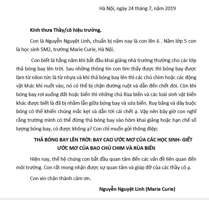 Bức thư em Nguyễn Nguyệt Linh gửi tới các trường học ở Hà Nội.