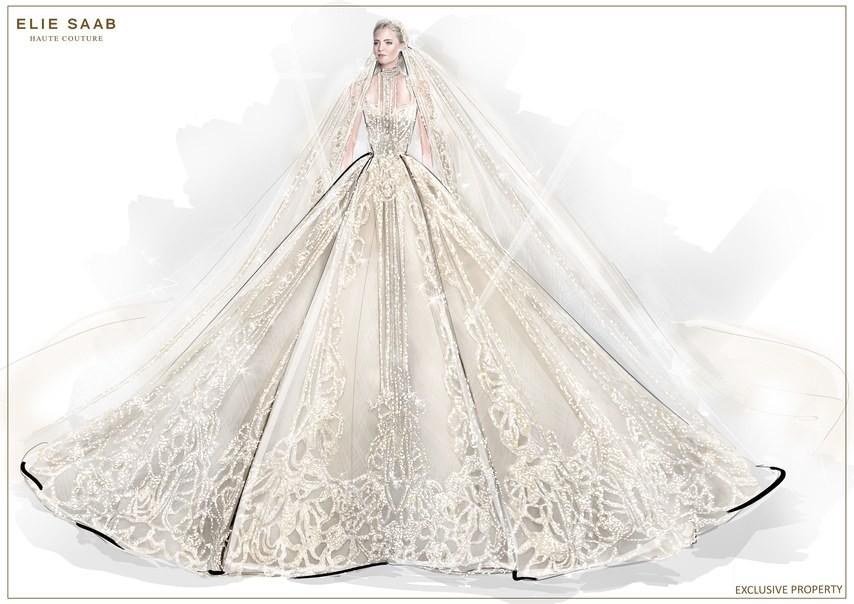 Không hổ danh con dâu nhà mốt Elie Saab: Được bố chồng dành tận 4 chiếc váy cưới Haute Couture, 1 trong số đó độc bản tráng lệ - Ảnh 6.