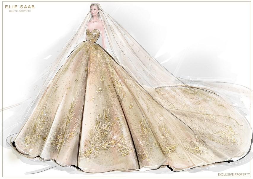 Không hổ danh con dâu nhà mốt Elie Saab: Được bố chồng dành tận 4 chiếc váy cưới Haute Couture, 1 trong số đó độc bản tráng lệ - Ảnh 10.