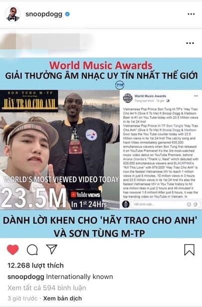 Snoop Dogg vừa tự hào chia sẻ lên Instagram chuỗi thành tích khủng của Hãy Trao Cho Anh - Ảnh 1.