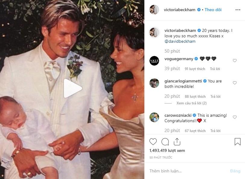 Cả gia đình chúc mừng kỷ niệm 20 năm ngày cưới Beckham - Victoria, Brooklyn gây chú ý nhưng không bằng Harper - Ảnh 2.