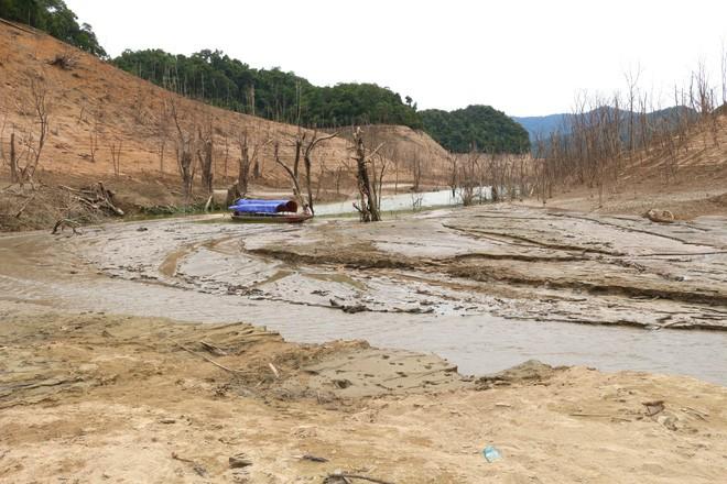 Lòng hồ lớn nhất Bắc Trung Bộ cạn trơ đáy, dân phải lội bùn cả cây số để đi - Ảnh 8.