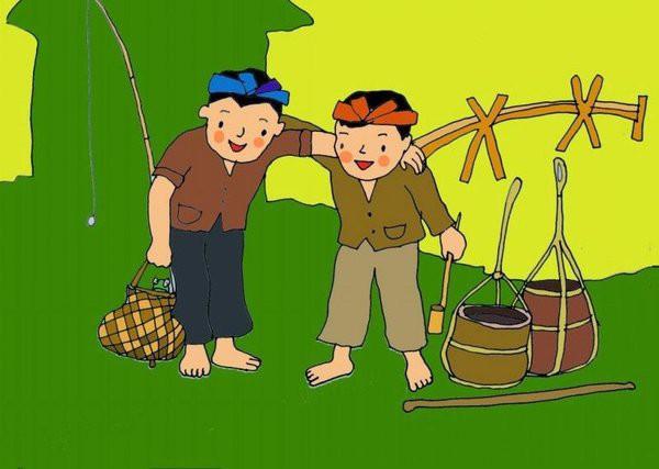 Ảnh minh họa hai người bạn trong bài đồng dao Bắc Kim Thang