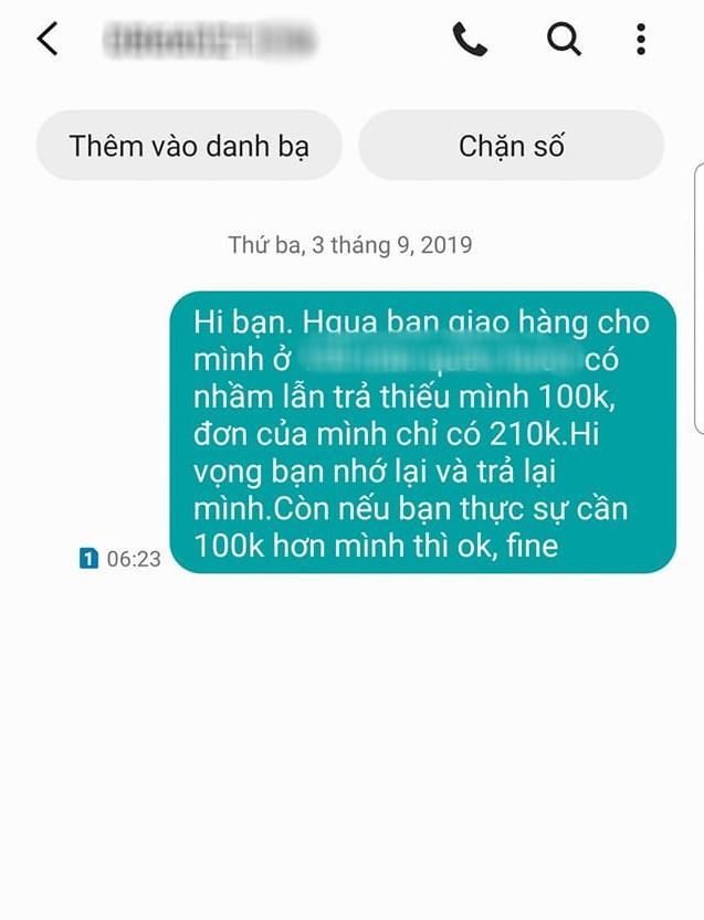 VZN News: Mỉa mai shipper ăn quỵt 100k, cô gái nhận được tin nhắn phản dame: Cái giọng của chị khiến em muốn tiêu thật tốt số tiền ấy, nếu có nhầm thật! - Ảnh 2.
