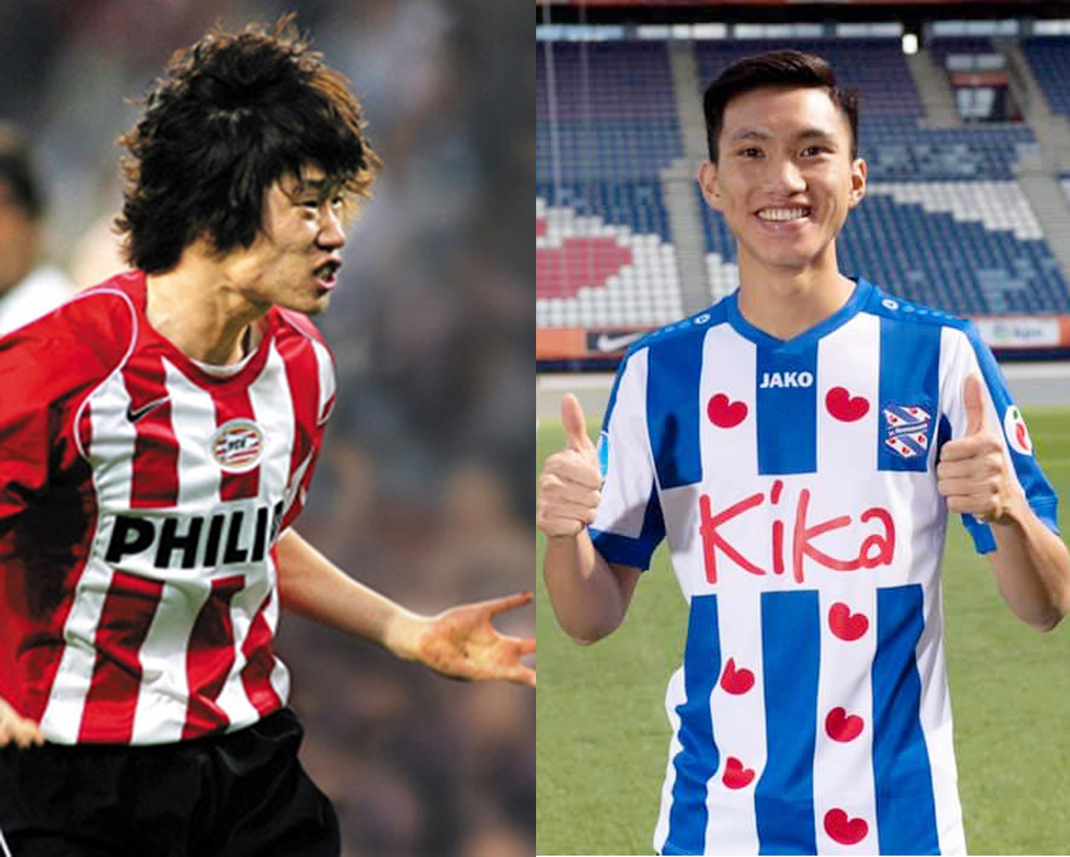 Đoàn Văn Hậu có bước đi đầu tiên giống huyền thoại bóng đá Hàn Quốc Park Ji-sung. Ảnh: SC Heerenveen, PSV Eindhoven.