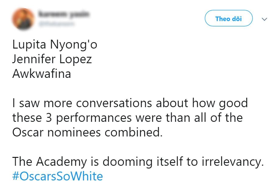 """Netizen bổn cũ soạn lại ồ ạt lên tiếng vì đề cử Oscar 2020 """"toàn mấy ông da trắng""""? - Ảnh 5."""