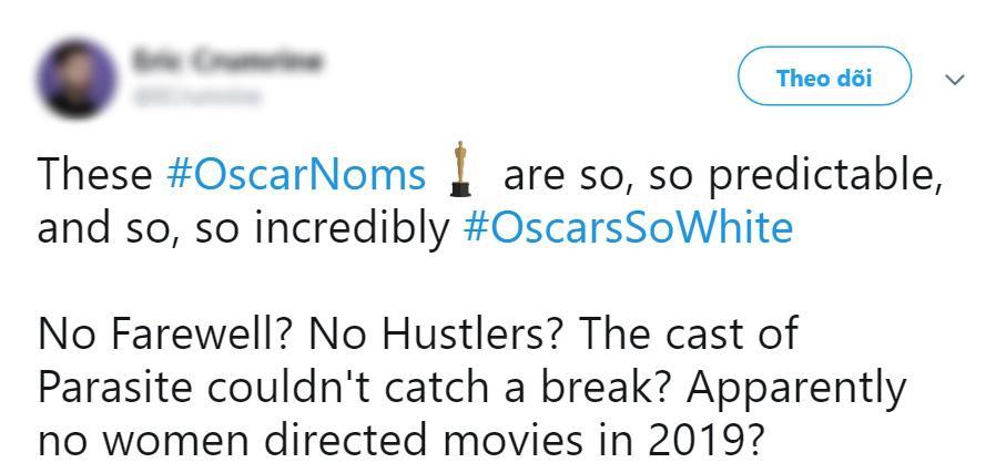 """Netizen bổn cũ soạn lại ồ ạt lên tiếng vì đề cử Oscar 2020 """"toàn mấy ông da trắng""""? - Ảnh 3."""
