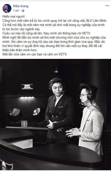 Tin buồn ngày cuối năm: BLV Hữu Trung và Minh Tân bất ngờ nói lời chia tay VETV - Ảnh 1.