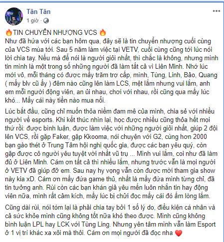 Tin buồn ngày cuối năm: BLV Hữu Trung và Minh Tân bất ngờ nói lời chia tay VETV - Ảnh 2.