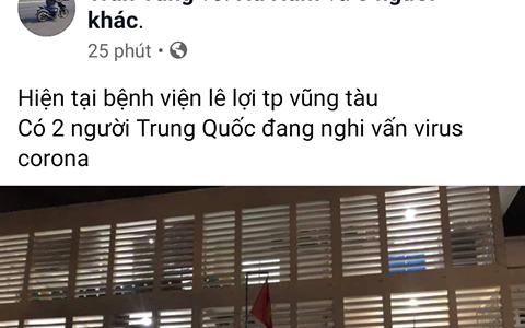 Công an mời lên làm việc người tung tin 2 người Trung Quốc nhập viện TP Vũng Tàu nghi do mắc virus corona